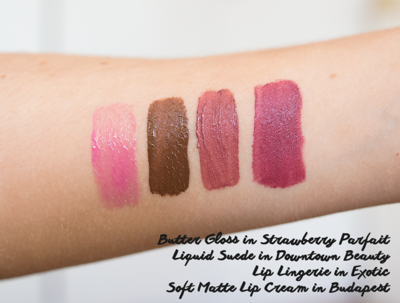 nyx butter gloss in strawberry parfait nyx liquid suede in downtown beauty nyx lip lingerie in exotic nyx soft matte lip cream in budapest swatches