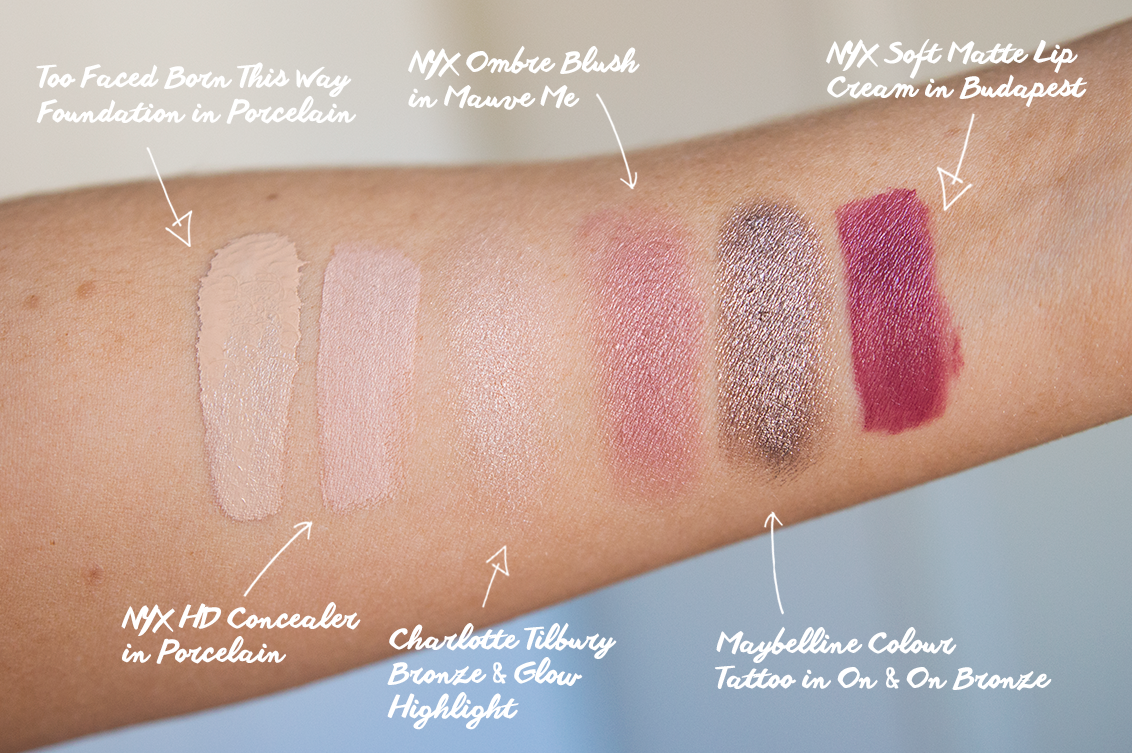 too faced born this way swatch nyx concealer swatch nyx ombre blush in mauve me charlotte tilbury bronze and glow swatch maybelline colour tattoo in on and on bronze nyx soft matte lip cream in budapest swatch
