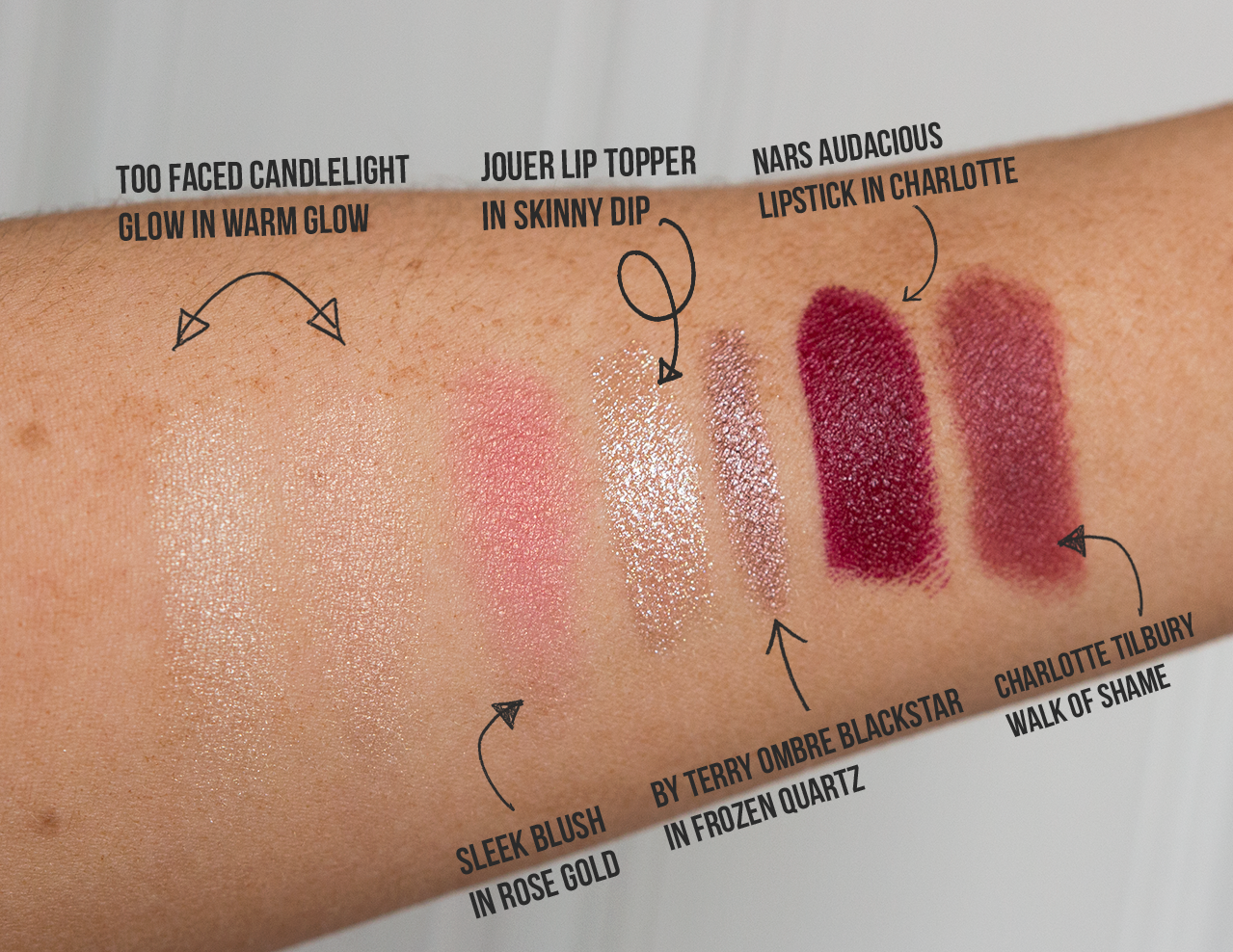 date night makeup swatches