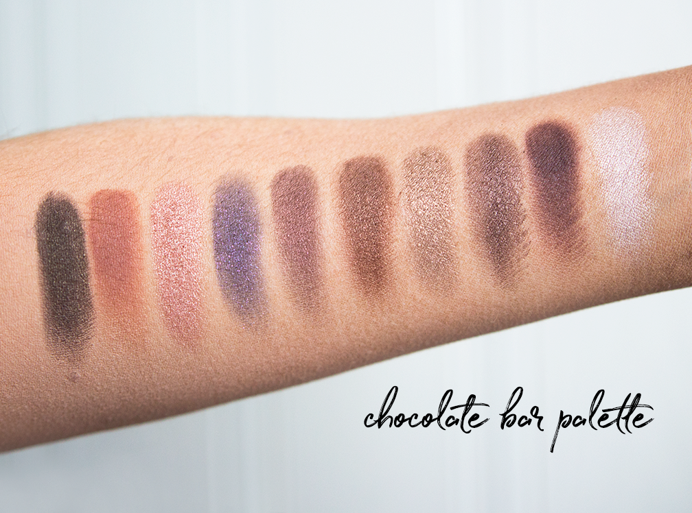 too faced chocolate bar palette candle light glow primed and poreless powder natural eyes palette born this way foundation chocolate soleil bronzer shadow insurance hangover primer swatches