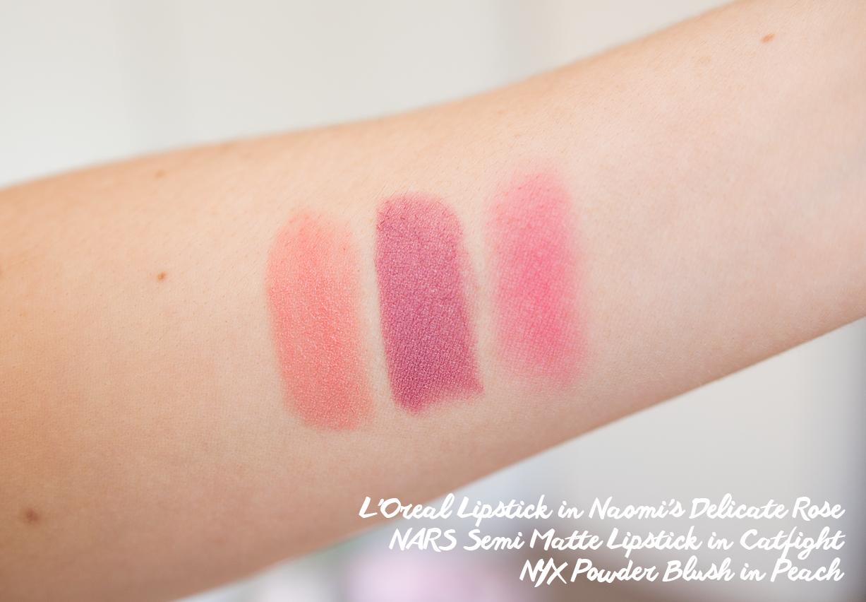 loreal lipstick in naomi's delicate rose nars semi matte lipstick in catfight nyx powder blush in peach swatch