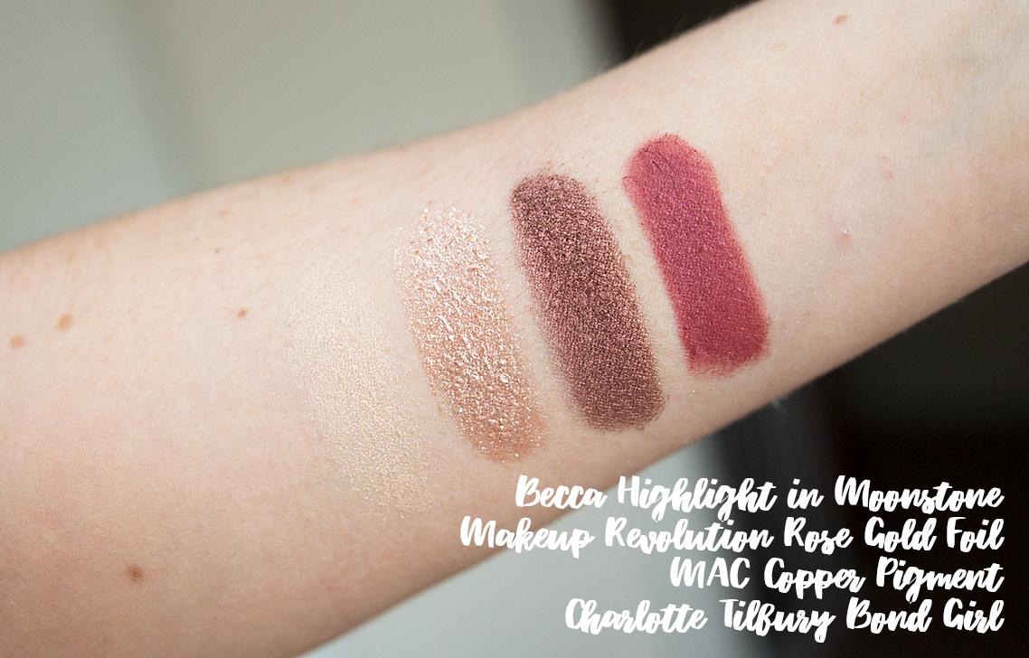 becca highlight in moonstone makeup revolution rose gold foil mac copper pigment charlotte tilbury bond girl swatch