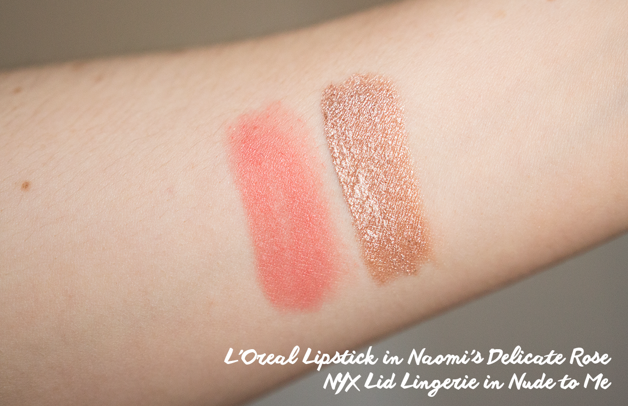 l'oreal lipstick in naomi's delicate rose swatch nyx lid lingerie in nude to me swatch