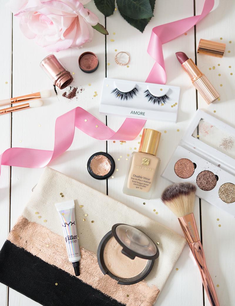 party makeup estee lauder double wear foundation mac copper pigment charlotte tilbury bond girl lipstick glitters