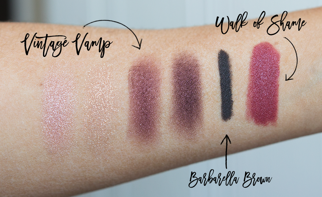 charlotte tilbury vintage vamp eyeshadow palette rock n kohl eyeliner barbarella brown matte revolution lipstick in walk of shame swatches