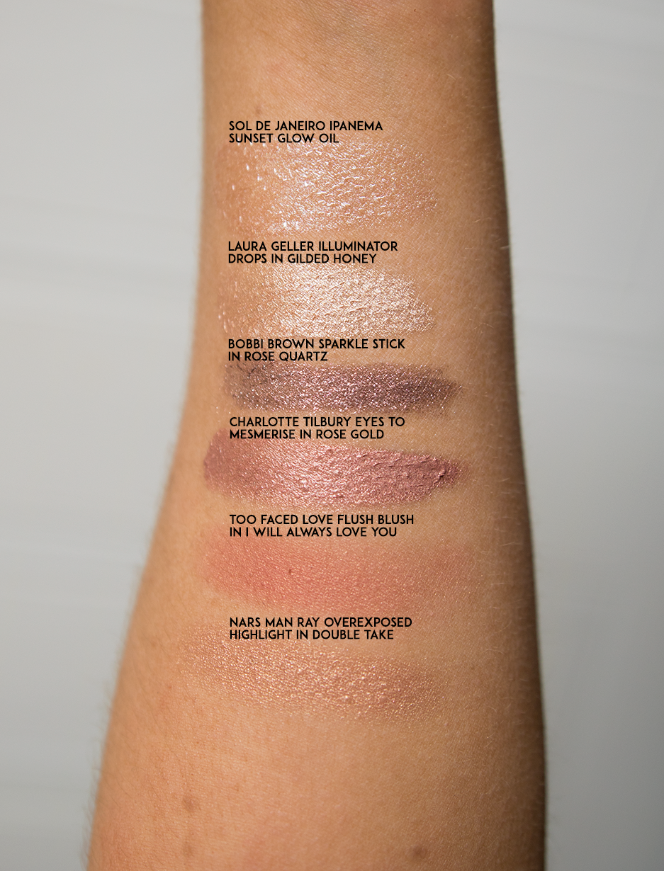 swatches summer glow edit glowing skin highlight swatch makeup glow